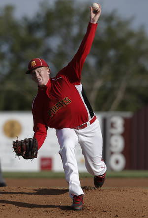 Photo - Dale's Dalton Tillison (20) pitches during the Class A State Baseball semifinal game between Dale and Silo in Edmond, Okla., Friday, Oct. 5, 2012.  Photo by Garett Fisbeck, The Oklahoman