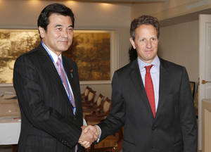 photo -   U.S. Treasury Secretary Timothy Geithner, right, and Japanese Finance Minister Koriki Jojima pose for photographers prior to their talks held on the sideline of the annual IMF/World Bank meetings in Tokyo Thursday, Oct. 11, 2012. Speaking at a financial conference Geithner said that financial reforms and other actions in response to the global crisis are yielding results, helping the U.S. economy to grow at a pace better than there was reason to expect. (AP Photo/Shizuo Kambayashi, Pool)  