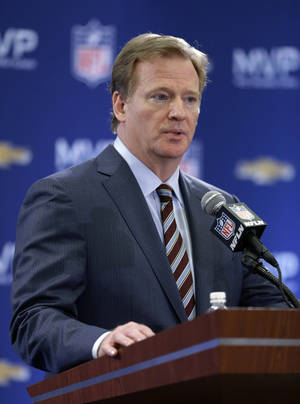 photo - NFL Commissioner Roger Goodell speaks during a news conference after NFL Super Bowl XLVII football game Monday, Feb. 4, 2013, in New Orleans. The Ravens defeated the San Francisco 49ers 34-31. (AP Photo/Darron Cummings)