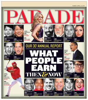 Photo - The cover of the April 15 issue of Parade. <strong></strong>