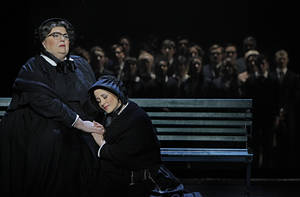 "photo - In this Jan. 23, 2013 photo provided by the Minnesota Opera, Christine Brewer, left, as Sister Aloysius Beauvier, the school principal and Adriana Zabala as Sister James, a teacher and a nun, perform during a dress rehearsal for the Jan. 26 world premiere of ""Doubt"" at the Minnesota Opera Center in Minneapolis. (AP Photo/Minnesota Opera, Michal Daniel)"