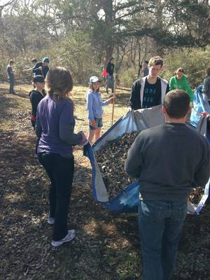 "Photo - Members of North Church help round up leaves as part of a ""Love OKC Week"" beautification project at Shiloh Camp in northwest Oklahoma City. Photo provided <strong></strong>"