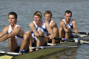 photo - Robin Prendes, Nick LaCava, Will Newell and Anthony Fahden row on the Oklahoma River. The United States men's four lightweight crew, who train at the Oklahoma City High Performance Center in the Devon Boathouse, recently qualified for the Olympic Games. PHOTO COURTESY GEORGIA READ <strong></strong>