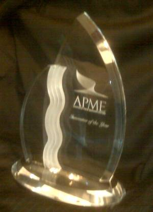 Photo - The APME Innovator of the Year Award is seen in this staff photo.