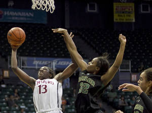 photo -   Stanford forward Chiney Ogwumike (13) shoots around Baylor forward Brooklyn Pope (32) and Brittney Griner, right, during the second half of an NCAA college basketball game Friday, Nov. 16, 2012 in Honolulu. (AP Photo/Marco Garcia)
