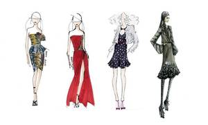 Photo - Sketch Nos. 1 and 2 are previews of the Reem Acra fall 2011 collection. Sketch No. 3 is a preview from the Rebecca Taylor fall 2011 collection. And sketch No. 4 is from the Elle Tahari 2011 fall collection. (AP)