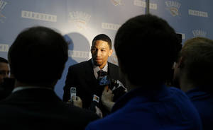 Photo - Andre Roberson speaks to the media during a press conference at the Thunder Events center, Saturday, July 29, 2013. Photo by Sarah Phipps, The Oklahoman