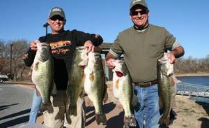 photo - Calera anglers Jeff Reynolds and Johnny Thompson had a big day on Arbuckle Lake last weekend. PHOTO PROVIDED