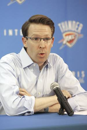 Photo - Thunder general manager Sam Presti has the No. 3 pick the June 25 NBA Draft. Photo by Steve Gooch, The Oklahoman