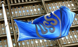 Photo - FILE - In this April 29, 2008 file photo, the U.S. Steel Corp. flag flies in front of their headquarters building in Pittsburgh. US Steel reports quarterly financial results after the market closes on Monday, Jan. 27, 2014. (AP Photo/Keith Srakocic, File)