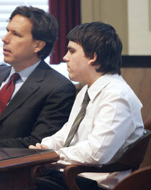 Photo - Connor Mason sits in the courtroom during his sentencing at the Oklahoma County Courthouse in Oklahoma City Friday, Dec. 21, 2012. Photo by Paul B. Southerland, The Oklahoman <strong>PAUL B. SOUTHERLAND - PAUL B. SOUTHERLAND</strong>