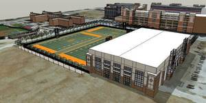 Photo - Artist's rendering of the Sherman E. Smith indoor practice facility to be built just north of Boone Pickens Stadium in Stillwater. COURTESY OSU SPORTS INFORMATION <strong></strong>