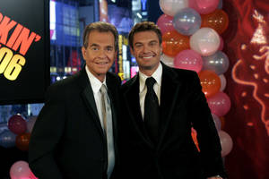 "Photo -   FILE - This Jan. 1, 2006 file photo originally released by ABC shows Dick Clark, left, posing with Ryan Seacrest in New York. Clark, the ever-youthful television host and tireless entrepreneur who helped bring rock `n' roll into the mainstream on ""American Bandstand,"" and later produced and hosted a vast range of programming from game shows to the New Year's Eve countdown from Times Square, died of a heart attack on Wednesday, April 18, 2012. He was 82. (AP Photo/ABC, file)"