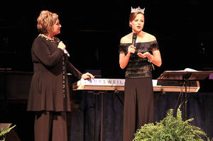 Photo - Sandi Patty, left, listens as Miss America Katie Stam talks about her Christian faith. Photo provided