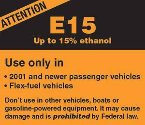 photo - This warning label is seen on gasoline pumps that provide E15 for flex-fuel vehicles. <strong></strong>