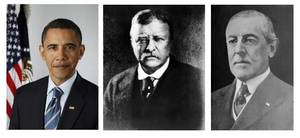 Photo - President  Barack  Obama won the 2009 Nobel Peace Prize Friday Oct. 9, 2009. The stunning choice made  Obama the third sitting U.S. president to win the Nobel Peace Prize. Theodore Roosevelt, center, won the award in 1906 and Woodrow Wilson, right, won in 1919. AP Photo
