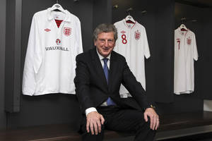 Photo -   Newly appointed England soccer manager Roy Hodgson smiles in the dressing room at Wembley Stadium in London Tuesday May 1, 2012. Hodgson was appointed England manager on a four-year contract on Tuesday, ending months of speculation over who would lead the national team to next month's European Championship. . (AP Photo/Andy Couldridge, Pool)