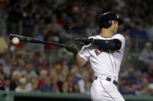Photo - Boston Red Sox center fielder Grady Sizemore bats in the sixth inning of an exhibition baseball game against the Minnesota Twins in Fort Myers, Fla., Thursday, March 27, 2014. The Red Sox won 4-1. (AP Photo/Gerald Herbert)