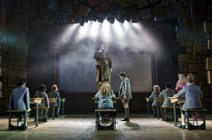 "Photo - This theater publicity image released by Boneau/Bryan-Brown shows the cast of ""Matilda, the Musical,"" including Bertie Carvel, standing center, during a performance in New York. A national tour if ""Matilda the Musical"" will begin in May 2015 at the Ahmanson Theatre in Los Angeles before stops at the SHN Orpheum Theatre in San Francisco, Seattle's 5th Avenue Theatre and Dallas' AT&T Performing Arts Center.  (AP Photo/Boneau/Bryan-Brown, Joan Marcus, File)"