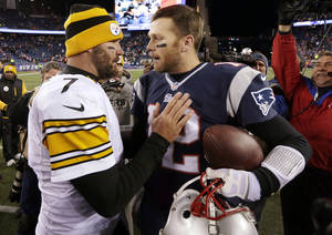 Photo - Pittsburgh Steelers quarterback Ben Roethlisberger, left, speaks to New England Patriots quarterback Tom Brady, right, after an NFL football game Sunday, Nov. 3, 2013, in Foxborough, Mass. The Patriots won 55-31. (AP Photo/Steven Senne)