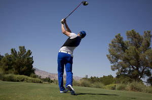 photo -   Jonas Blixt of Sweden tees off the ninth hole during the third round of the Justin Timberlake Shriners Hospitals for Children Open golf tournament, Saturday, Oct. 6, 2012, in Las Vegas. (AP Photo/Julie Jacobson)