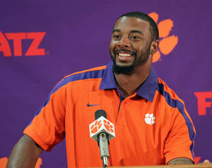 Photo - Clemson NCAA college football quarterback Tajh Boyd discusses the Tigers' season opening game against Georgia at a news conference in Clemson, S.C., Tuesday, Aug. 27, 2013. (AP Photo/Anderson Independent-Mail, Mark Crammer) GREENVILLE NEWS OUT, SENECA NEWS OUT
