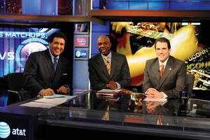 Photo - Greg Gumbel hosts March Madness for CBS and Turner Broadcasting. He is in shown with Greg Anthony and Seth Davis in 2009. Photo provided by CBS <strong>JEFFREY R STAAB</strong>