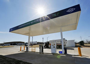 Photo -  A view of the two pumps that are open to the public at the new CNG fueling station Wednesday at Oklahoma City's Solid Waste Facility. Photo by Nate Billings, The Oklahoman  <strong>NATE BILLINGS -   </strong>