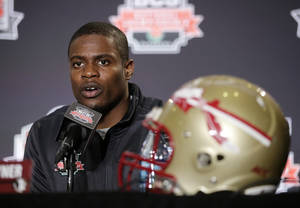 Photo - Florida State cornerback Lamarcus Joyner speaks during a news conference on Thursday, Jan. 2, 2014, in Newport Beach, Calif. Florida State is scheduled to play Auburn on Monday, Jan. 6, in the BCS national championship NCAA college football game. (AP Photo/Jae C. Hong)