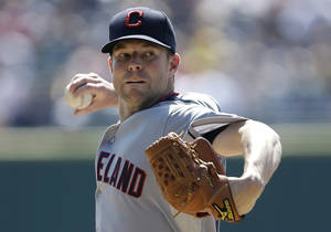 Photo -   Cleveland Indians starting pitcher Corey Kluber throws against the Detroit Tigers in the first inning of a baseball game in Detroit, Monday, Sept. 3, 2012. (AP Photo/Paul Sancya)