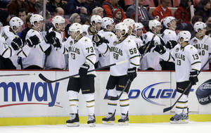 photo - Dallas Stars right wing Michael Ryder (73) is congratulated by teammates after his goal during the first period of an NHL hockey game against the Detroit Red Wings in Detroit, Tuesday, Jan. 22, 2013. (AP Photo/Carlos Osorio)