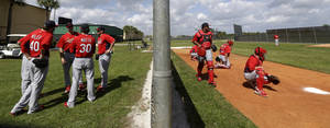 photo - St. Louis Cardinals pitchers, left, gather as catchers work on a bullpen session during the team's first pitchers and catchers workout at spring training baseball, Tuesday, Feb. 12, 2013, in Jupiter, Fla. (AP Photo/Julio Cortez)