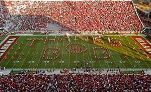 "photo - The ""Pride of Oklahoma"" band spells out ""Thanks Bob"" in honor of radio personality Bob Barry during half-time of the college football game between the University of Oklahoma Sooners (OU) and the Texas Tech Red Raiders (TTU) at the Gaylord Family-Oklahoma Memorial Stadium on Saturday, Nov. 13, 2010, in Norman, Okla.  Photo by Steve Sisney, The Oklahoman"
