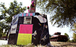photo -   Signs with messages of love and encouragement are left at Meyers Lake for two abducted Iowa cousins Lyric Cook-Morrissey, 10, of Waterloo, and Elizabeth Collins, 8, of Evansdale, on Sunday, July 22, 2012, in Evansdale, Iowa. The girls were last seen 13 at Meyers Lake. (AP Photo/The Waterloo Courier, Dawn J. Sagert)