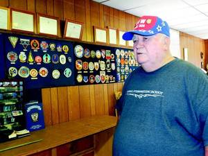 Photo - Post Commander Don Campbell discusses how the post needs new members and more active members in Checotah. (Muskogee Phoenix photo)