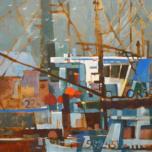 "Photo - ""Fishing Boats,"" an acrylic by Michael Jones   Photo provided <strong>Photo provided</strong>"