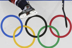 Photo - A USA women's ice hockey player jumps over the boards and into bench during third period of the game against Finland at the 2014 Winter Olympics womens ice hockey match at Shayba Arena, Saturday, Feb. 8, 2014, in Sochi, Russia. (AP Photo/J. David Ake)