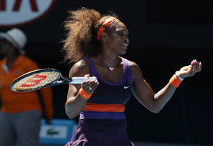 photo - Serena Williams of the US reacts during her quarterfinal match against compatriot Sloane Stephens at the Australian Open tennis championship in Melbourne, Australia, Wednesday, Jan. 23, 2013. (AP Photo/Aaron Favila)