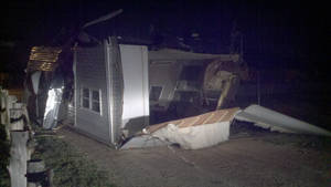 Photo - An emergency management trailer was flipped over by powerful wind gusts after a heat burst hit Woodward late Friday. Photo provided