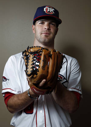 photo - MINOR LEAGUE BASEBALL: Oklahoma City's Dallas Keuchel poses for a photograph during media day for the Oklahoma City RedHawks in Oklahoma City, Tuesday, April 3, 2012. Photo by Sarah Phipps, The Oklahoman