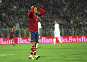 photo -   Spain's David Silva reacts after failed a goal during a World Cup 2014 Group qualification match between Belarus and Spain national teams in Minsk, Belarus, on Friday, Oct. 12, 2012.(AP Photo/Sergei Grits)