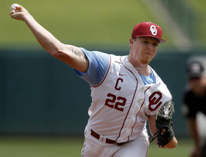 Photo - Oklahoma's Jonathan Gray pitches against Baylor during the Big 12 Baseball Championship tournament at the Chickasaw Bricktown Ballpark in Oklahoma City, Thursday, May, 23, 2013. Oklahoma won 2-0. Photo by Bryan Terry, The Oklahoman
