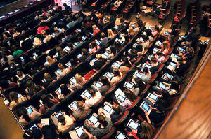 photo - Education students at the University of Oklahoma are being given iPads as part of a program to integrate technology and education. Photo provided