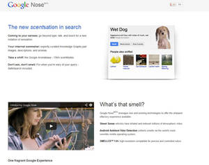"Photo - This frame grab image released by Google shows the Google Nose site, a parody site in celebration of April Fools' Day. Having already debuted its wearable Google Glass, the company on Monday showcased ""Google Nose,"" adding scents to it search results. (AP Photo/Google)"