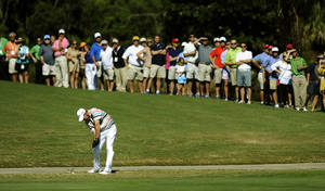 Photo -   Tommy Gainey hits off the 18th fairway during the final round of the McGladrey Classic PGA Tour golf tournament on Sunday, Oct. 21, 2012, in St. Simons Island, Ga. Gainey finished 16 under par to win his first PGA tournament. (AP Photo/Stephen Morton)