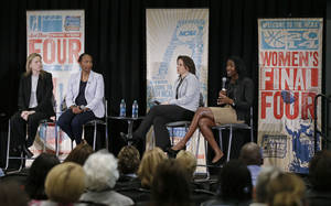 Photo - This April 7, 2014 photo shows Val Ackerman, left, commissioner of the Big East Conference; Carolayne Henry, second from left, of the Mountain West Conference; Jen Rizzotti, second from right, head coach at the University of Hartford; and Roz Durant, right, of ESPN; taking part in a discussion of the state of women's basketball at the Women's Final Four Summitt in Nashville, Tenn. (AP Photo/Mark Humphrey)