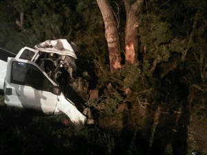Photo -   In a photo provided by the Texas Department of Public Safety the wreckage of a pickup truck is seen after it crahed into trees In Goliad County Texas Sunday July 22, 2012. The single vehicle crash in rural South Texas killed at least 11 people and injured 12 others, all passengers in the truck. (AP Photo/Texas Department of Public Safety)