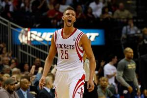 Photo - HOUSTON, TX - APRIL 04:  Chandler Parsons #25 of the Houston Rockets reacts after hitting a three pointer in the third period against the Oklahoma City Thunder during a game at the Toyota Center on April 4, 2014 in Houston, Texas. NOTE TO USER: User expressly acknowledges and agrees that, by downloading and or using this photograph, User is consenting to the terms and conditions of the Getty Images License Agreement.  (Photo by Scott Halleran/Getty Images)