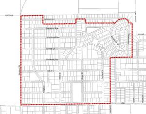 Photo - The Westwood Neighborhood Association in Stillwater is seeking stricter zoning regulations for the area shown on this map. The proposed regulations would prevent more than three unrelated people from living together in a house and create parking restrictions.  ORG XMIT: kod
