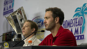 photo -   NASCAR Sprint Cup Series drivers, Brad Keselowski, left, and Jimmie Johnson, talk to the media during a news conference in Homestead, Fla., Thursday, Nov. 15, 2012. (AP Photo/J Pat Carter)
